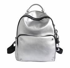 Большой рюкзак с заклепками на переднем кармане | портфель блестящий (0560) Серебристый