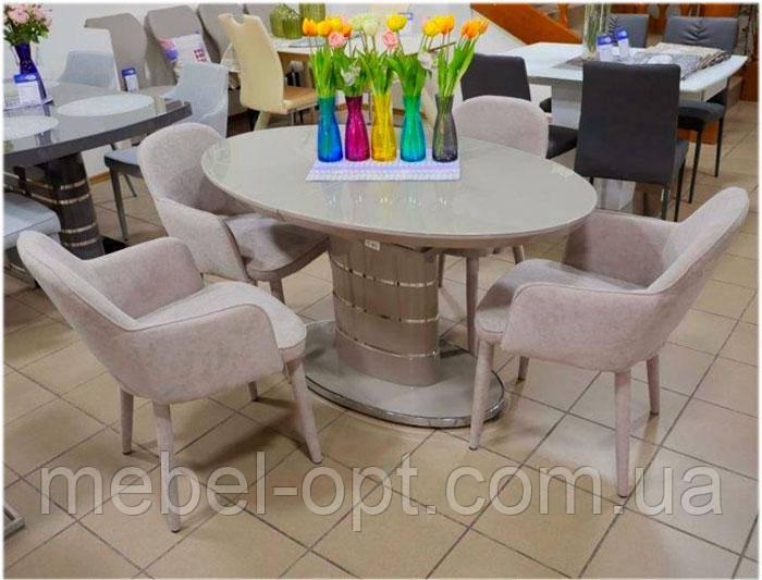 Современный раскладной овальный стол DT-113 Utah cappuccino капучино 1400 (1800) х 850 х 780 см, модерн
