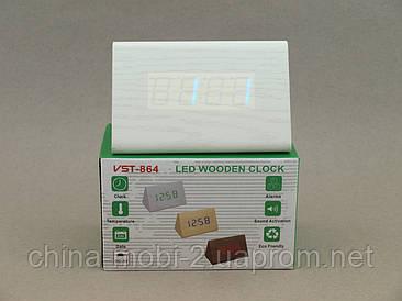 VST864 годинники настільні цифрові з будильником, білі з синіми цифрами