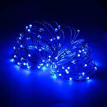 Декор Светодиодная Гирлянда Нить ЛЕД Синяя На Батарейках Или От USB! 10м 100led Blue, фото 3