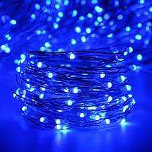 Декор Светодиодная Гирлянда Нить ЛЕД Синяя На Батарейках Или От USB! 10м 100led Blue, фото 2