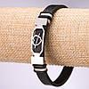 """Браслет мужской Mir-32390 эко-кожа на руку с пластиной """"Сердце"""" размер 21 см"""