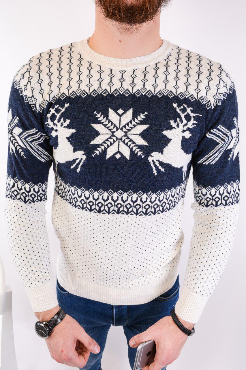 Мужской свитер новогодний бело-синий H2439