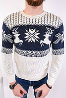 Мужской свитер новогодний бело-синий H2439, фото 1