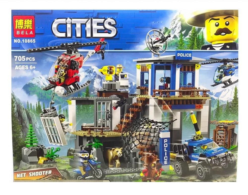 """Конструктор BELA Cities """"Полицейский участок в горах"""" 10865 ( 705 деталей"""