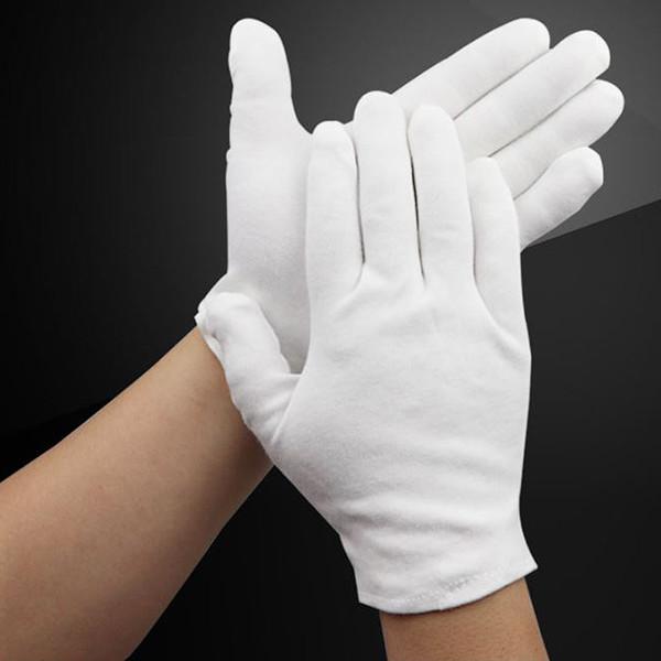 Белые хлопчатобумажные 100% перчатки (размер L).
