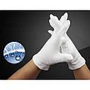 Белые хлопчатобумажные 100% перчатки (размер L)., фото 9