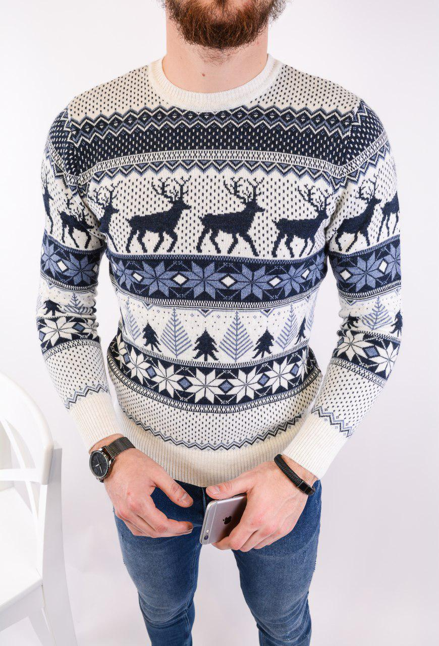 Мужской свитер новогодний белый H2446