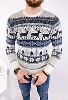 Мужской свитер новогодний белый H2446, фото 1