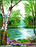 """Схема для вышивки крестом """"У реки"""""""