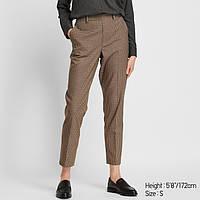 Женские коричневые укороченные брюки в клетку Uniqlo