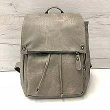 Рюкзак городской под фактуру ткани | портфель PU-кожа арт.0555 Серый