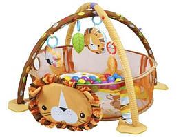 Дитячий розвиваючий  килимок килим коврик ЛЕВ + кульки для немовляти