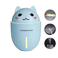 """Увлажнитель воздуха для детей  """"Happy Cat"""" 3в1 (,usb-вентилятор,led-светильник) Голубой"""