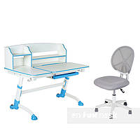 Детская парта-трансформер  FunDesk Amare II Blue+ Компьютерное кресло  LST1 Grey, фото 1