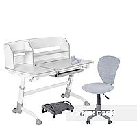Комплект подростковая парта для школы Amare II Grey + ортопедическое кресло LST2 Grey FunDesk, фото 1