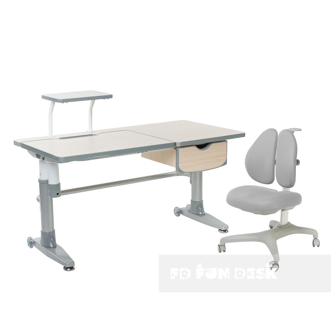 Комплект підліткова парта для школи Ballare Grey + ортопедичне крісло Bello II Grey FunDesk