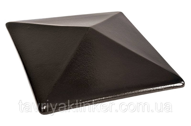 Клинкерная крышка на забор KingKlinker Ониксовый чёрный (17) 310х310х80