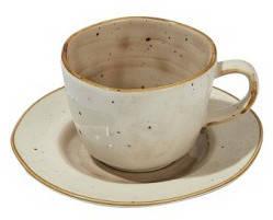 Чашка с блюдцем - 250 мл, Серая / Коричневая (ALT Porcelain) Country