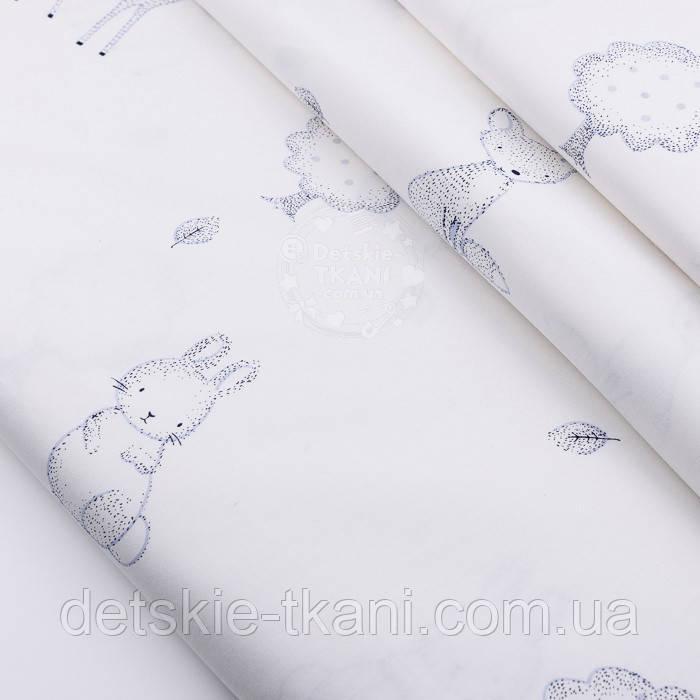 """Сатин ткань """"Лесные звери и деревья"""" серые на белом № 2531с"""