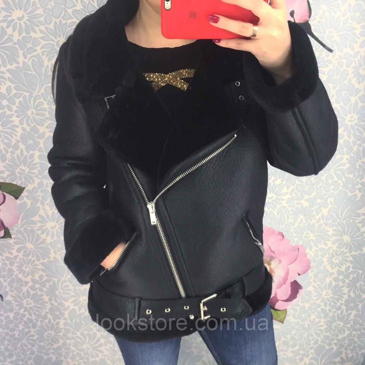 Женская теплая дубленка авиатор Zara Woman черная