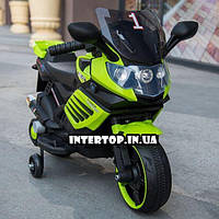 Детский двухколесный электрический мотоцикл с мягким сиденьем  для детей от 2 до 5 лет Bambi M 3582 зеленый