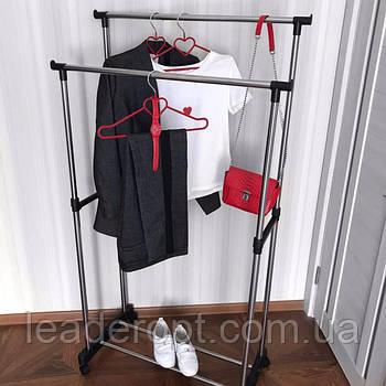 [ОПТ] Підлогова вішалка для одягу Double Pole з підставкою для взуття.