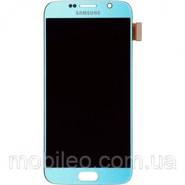 Дисплей (LCD) Samsung GH97-17260D G920 Galaxy S6 AMOLED с тачскрином, голубой (сервисный оригинал)