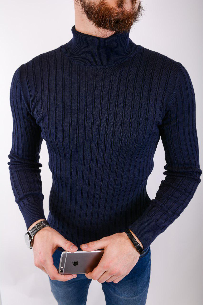 Мужской свитер темно-синий 2433