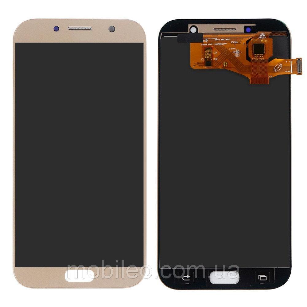 Дисплей для Samsung GH97-19723B A720 Galaxy A7 (2017) Amoled с тачскрином, золотой (сервисный оригинал)