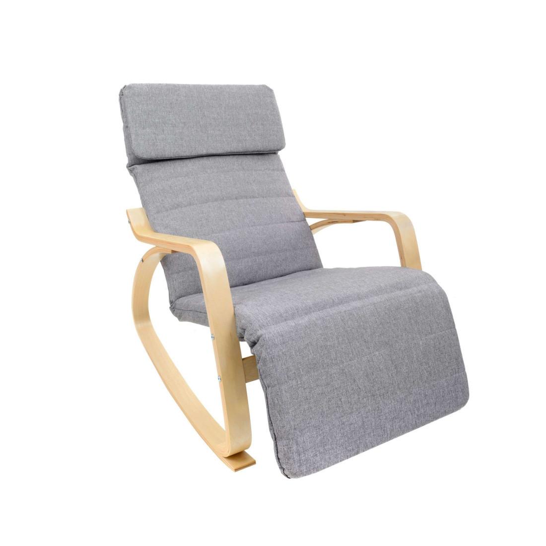 Кресло-качалка Oscar на полозьях с подставкой серый