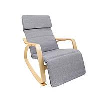 Кресло-качалка Oscar на полозьях с подставкой серый, фото 1