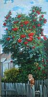 Картина сельский пейзаж «Красная калина»