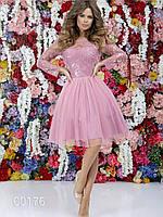 Платье для свидетельницы на свадьбу, 00176 (Розовый), Размер 46 (L)
