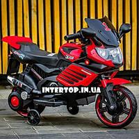 Детский двухколесный электрический мотоцикл с мягким сиденьем  для детей от 2 до 5 лет Bambi M 3582  красный