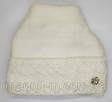 Женская теплая шапка с напуском.  Флисовая подкладка. Молочный цвет.
