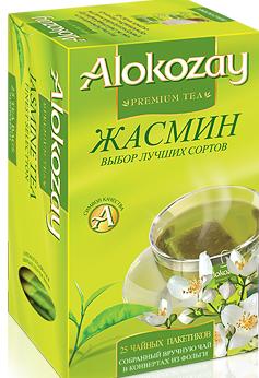 Чай зелений ALOKOZAY з ароматом і смаком жасмину 25 пакетиків