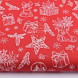 """Отрез новогодней ткани """"Рождественский носок с подарками и колокольчиками"""" на красном, №2440 разер 60*160, фото 2"""