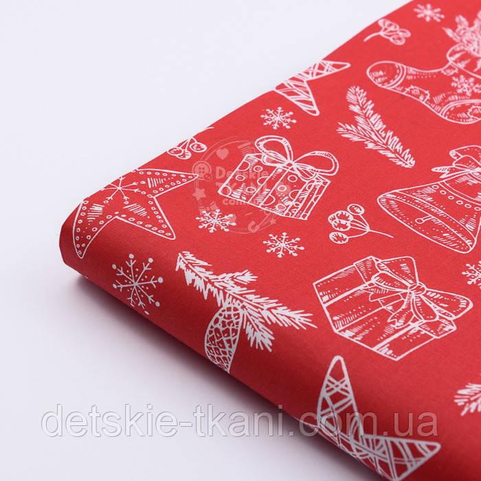"""Отрез новогодней ткани """"Рождественский носок с подарками и колокольчиками"""" на красном, №2440 разер 60*160"""