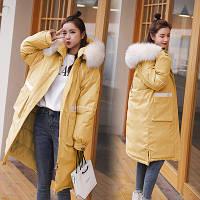 Пуховик пальто женский с капюшоном мега стильный, черный, бежевый, зеленый, желтый, розовый (NORI - 0020223)