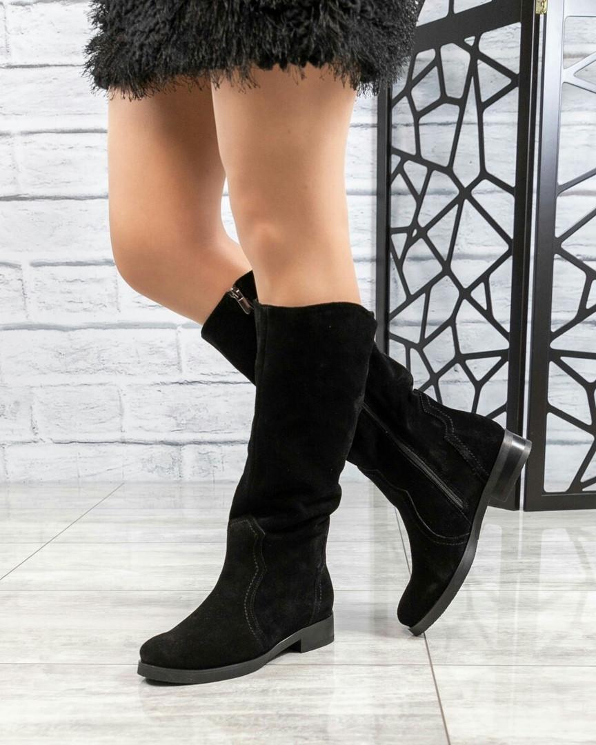 Демисезонные сапоги женские замшевые черные
