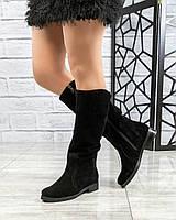 Демисезонные сапоги женские замшевые черные, фото 1