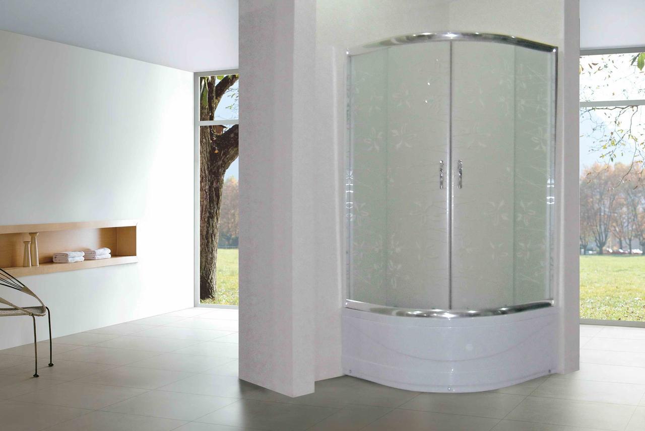 Кабина душевая полукруглая 1021-Т 100х100х200/ стекло TATIANA/ поддон 40см