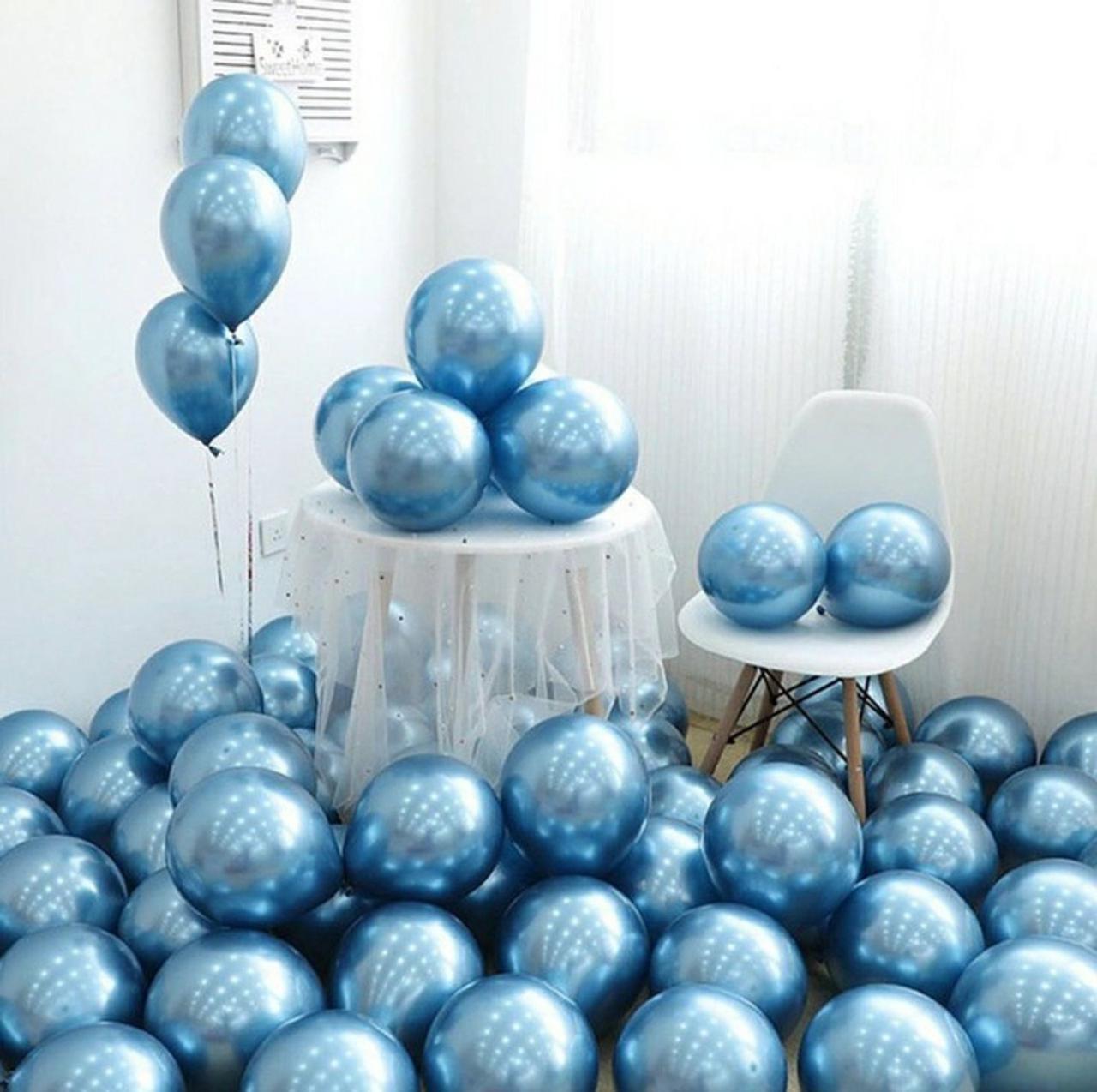"""Куля хром блакитний 1шт повітряний 12"""" 1569. Повітряні надувні кулі хром"""