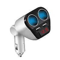 Автомобильный разветвитель прикуривателя с вольтметром и USB зарядкой 3,4А. Белый., фото 1