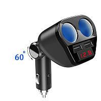 Автомобильный разветвитель прикуривателя с вольтметром и USB зарядкой 3,4А. Черный., фото 1