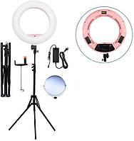 Кольцевой LED свет, кольцевая лампа со стойкой FS-480II Bi-color (3200-5500k) (розовая), фото 1