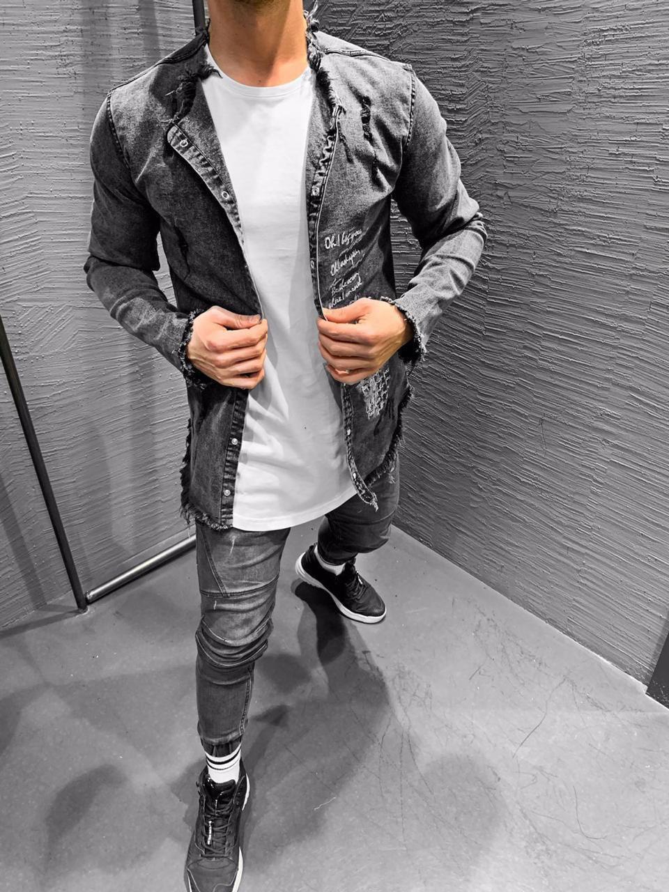 Мужская джинсовая рубашка темно-серая 2523-2
