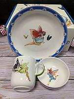 Набор детской посуды на 3 предмета Эльф (Buona Elf Pavone) из костяного фарфора