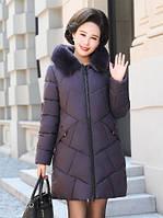 Элегантный женский зимний теплый стеганый пуховик с капюшоном, фиолетовый, фото 1